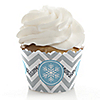 Winter Wonderland - Snowflake Holiday Party & Winter Wedding Decorations - Party Cupcake Wrappers - Set of 12