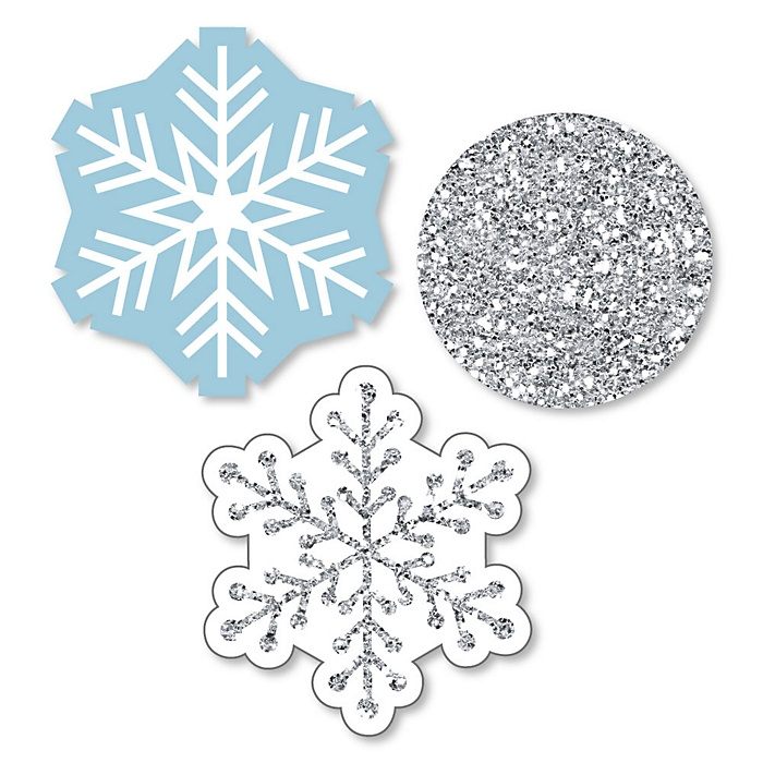 Winter Wonderland - DIY Shaped Snowflake Holiday Party & Winter Wedding Paper Cut-Outs - 24 ct