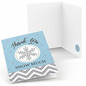 Winter Wonderland - Snowflake Holiday Party & Winter Wedding Thank You Cards