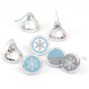 Winter Wonderland - Round Candy Labels Snowflake Holiday Party & Winter Wedding Favors - Fits Hershey Kisses - 108 ct
