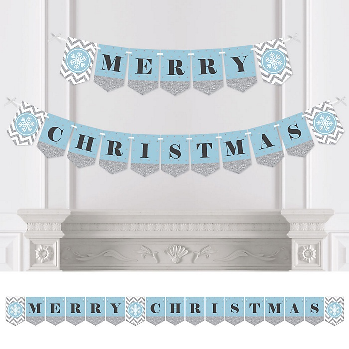 Winter Wonderland - Personalized Snowflake Holiday Party & Winter Wedding Bunting Banner & Decorations