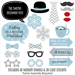 Winter Wonderland - 20 Piece Snowflake Holiday Party & Winter Wedding Photo Booth Props Kit