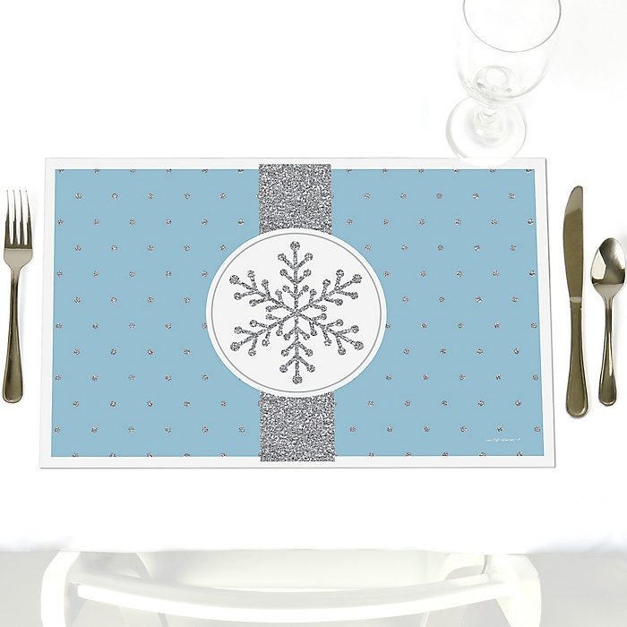 Winter Wonderland - Party Table Decorations - Snowflake Holiday Party & Winter Wedding Placemats - Set of 12