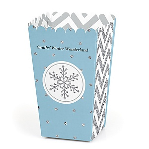 Winter Wonderland - Personalized Snowflake Holiday Party & Winter Wedding Popcorn Favor Treat Boxes - Set of 12