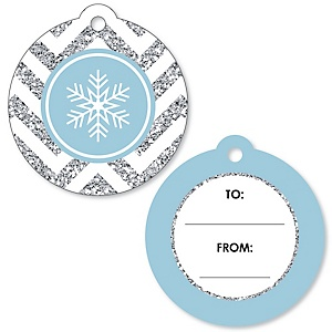 Winter Wonderland - Snowflake Holiday Party & Winter Wedding To and From Favor Gift Tags - Set of 20