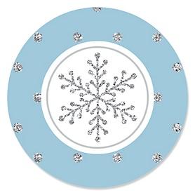 Winter Wonderland - Snowflake Holiday Party & Winter Wedding Sticker Labels - 24 ct