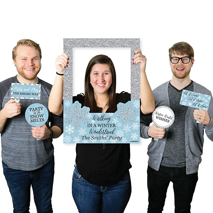 Winter Wonderland - Personalized Snowflake Holiday Party & Winter Wedding Selfie Photo Booth Picture Frame & Props - Printed on Sturdy Material