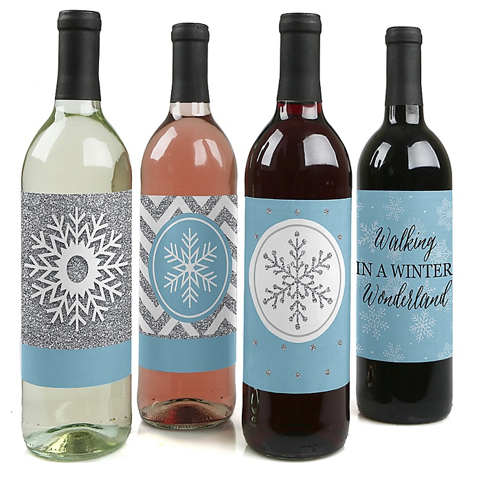 Winter Wonderland - Snowflake Holiday Party & Winter Wedding Decorations for Women and Men - Wine Bottle Label Stickers - Set of 4