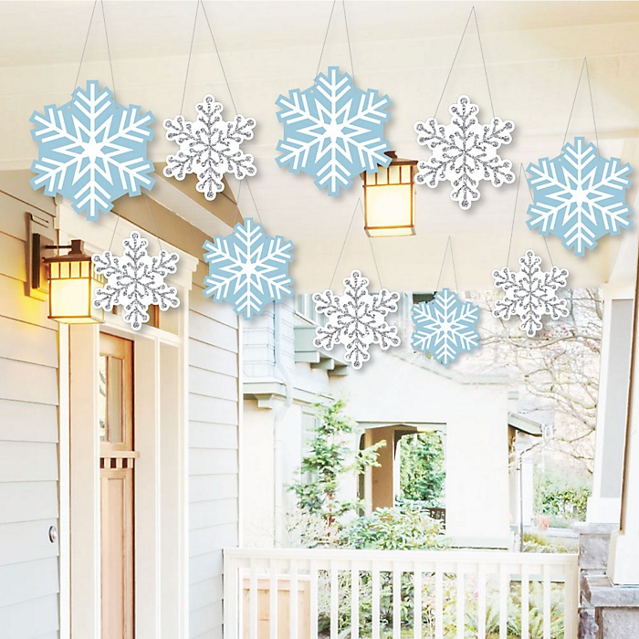 Hanging Winter Wonderland - Outdoor Snowflake Holiday Party & Winter Wedding Hanging Porch & Tree Yard Decorations - 10 Pieces