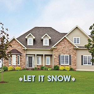 Winter Wonderland - Yard Sign Outdoor Lawn Decorations - Snowflake Holiday Party and Winter Wedding Yard Signs - Let It Snow