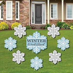 Winter Wonderland - Yard Sign & Outdoor Lawn Decorations - Snowflake Holiday Party & Winter Wedding Yard Signs - Set of 8