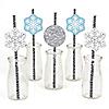 Winter Wonderland - Paper Straw Decor - Snowflake Holiday Party & Winter Wedding Party Striped Decorative Straws - Set of 24
