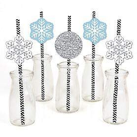 Winter Wonderland - Paper Straw Decor - Snowflake Holiday Party & Winter Wedding Party Striped Decorative Straws - Set of 24