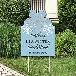 Winter Wonderland - Party Decorations - Snowflake Holiday Party & Winter Wedding Personalized Welcome Yard Sign
