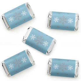 Winter Wonderland - Mini Candy Bar Wrapper Stickers - Snowflake Holiday Party and Winter Wedding Small Favors - 40 Count