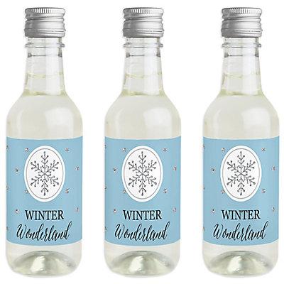 winter wonderland mini wine and champagne bottle label stickers