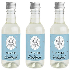 Winter Wonderland - Mini Wine and Champagne Bottle Label Stickers - Snowflake Holiday Party & Winter Wedding Party Favor Gift - For Women and Men - Set of 16