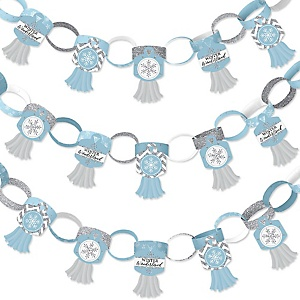 Winter Wonderland - 90 Chain Links and 30 Paper Tassels Decoration Kit - Snowflake Holiday Birthday Party and Baby Shower Paper Chains Garland - 21 feet