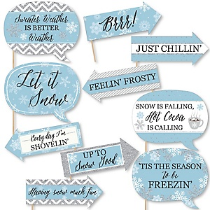Funny Winter Wonderland - 10 Piece Snowflake Holiday Party and Winter Wedding Photo Booth Props Kit