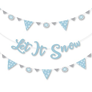 Winter Wonderland - Snowflake Holiday Party and Winter Wedding Letter Banner Decoration - 36 Banner Cutouts and Let It Snow Banner Letters