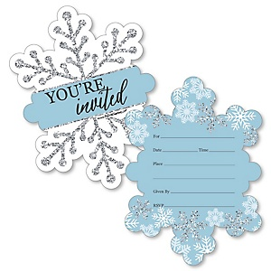 Winter Wonderland - Shaped Fill-In Invitations - Snowflake Holiday Party and Winter Wedding Invitation Cards with Envelopes - Set of 12