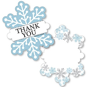Winter Wonderland - Shaped Thank You Cards - Snowflake Holiday Birthday Party and Baby Shower Thank You Note Cards with Envelopes - Set of 12