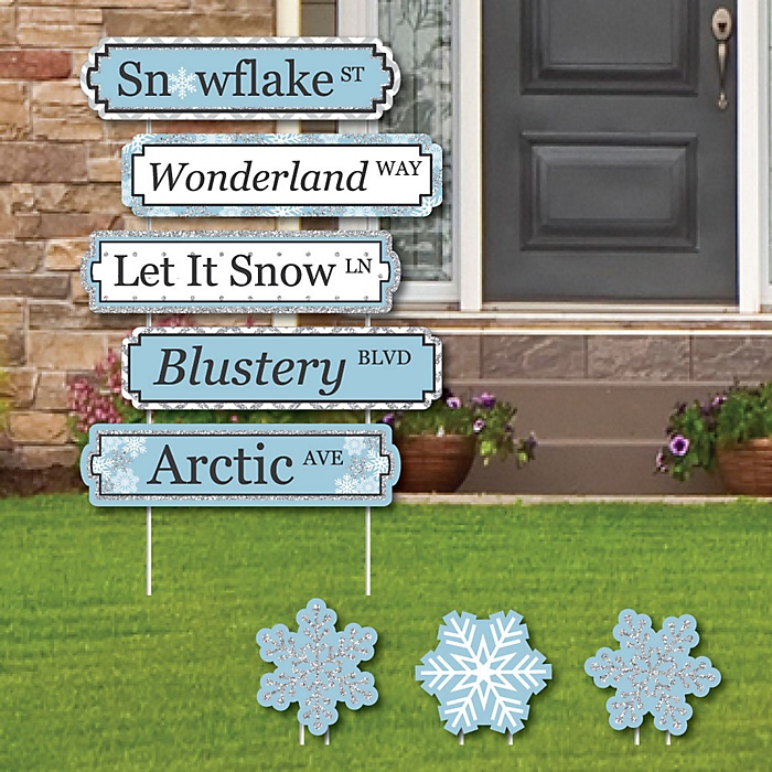 Winter Wonderland Street Sign Cutouts - Snowflake Holiday Party Yard Signs and Decorations - Set of 8