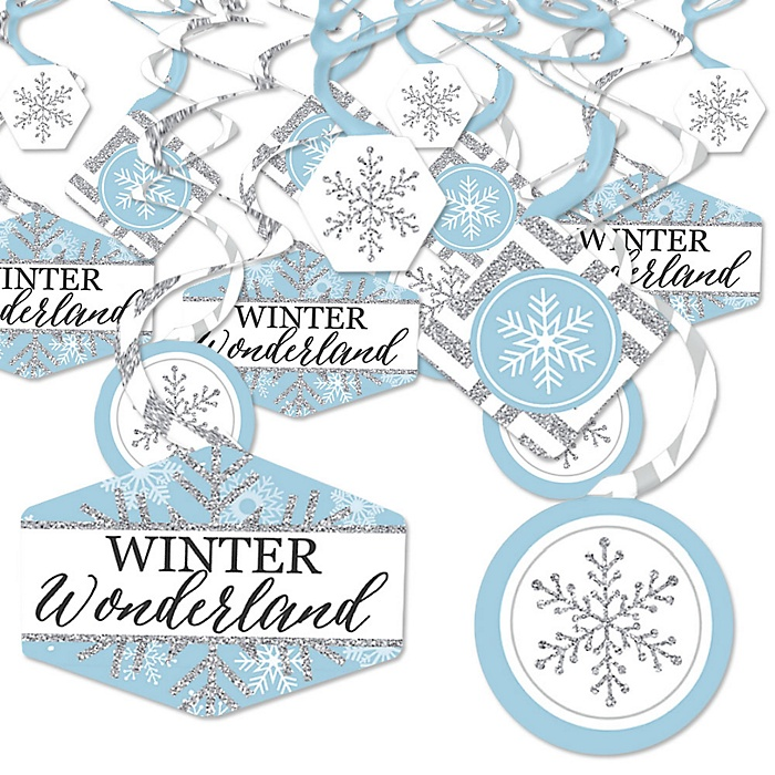 Winter Wonderland - Snowflake Holiday Party and Winter Wedding Hanging Decor - Party Decoration Swirls - Set of 40