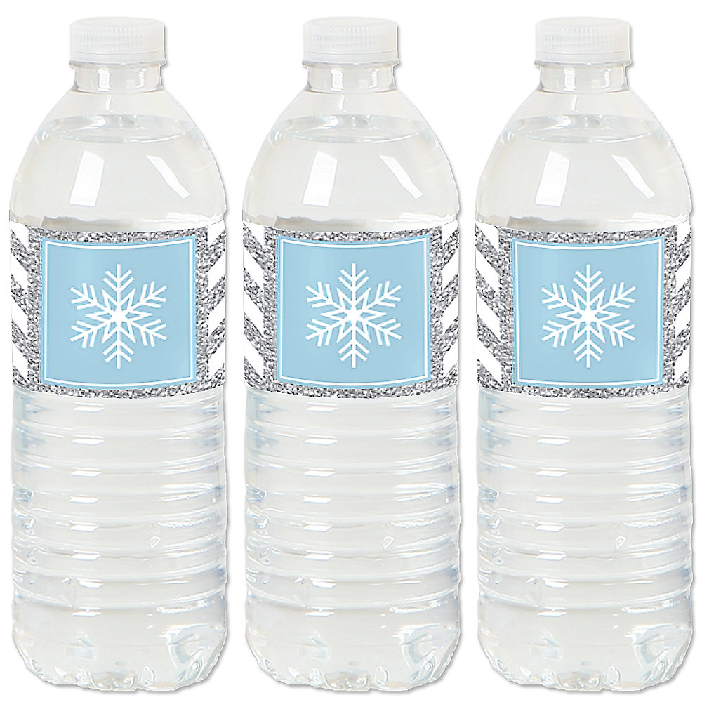Wedding Water Bottle Labels.Winter Wonderland Snowflake Holiday Party Winter Wedding Water Bottle Sticker Labels Set Of 20