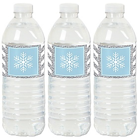 Winter Wonderland - Snowflake Holiday Party & Winter Wedding Water Bottle Sticker Labels - Set of 20