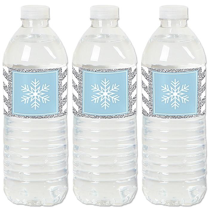 Winter Wonderland - Snowflake Holiday Party & Winter Wedding Water Bottle Sticker Labels - Set of 20