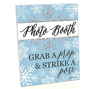 Winter Wonderland Photo Booth Sign - Snowflake Holiday Birthday Party and Baby Shower Decorations - Printed on Sturdy Plastic Material - 10.5 x 13.75 inches - Sign with Stand - 1 Piece