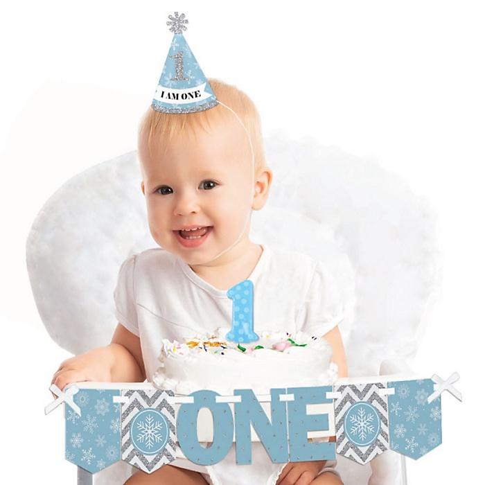 ONEderland 1st Birthday - First Birthday Boy Smash Cake Decorating Kit - Winter Wonderland High Chair Decorations