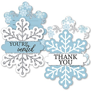 Winter Wonderland - 20 Shaped Fill-In Invitations and 20 Shaped Thank You Cards Kit - Snowflake Holiday Birthday Party and Baby Shower Stationery Kit - 40 Pack
