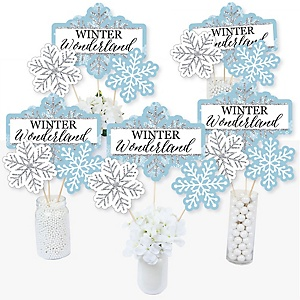 Winter Wonderland - Snowflake Holiday Party & Winter Wedding Party Centerpiece Sticks - Table Toppers - Set of 15