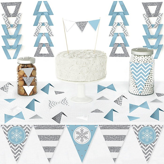 Winter Wonderland - DIY Pennant Banner Decorations - Snowflake Holiday Party and Winter Wedding Triangle Kit - 99 Pieces