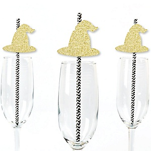 Gold Glitter Witch Hat Party Straws - No-Mess Real Gold Glitter Cut-Outs & Decorative Halloween Party Paper Straws - Set of 24