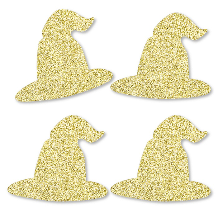 Gold Glitter Witch Hat - No-Mess Real Gold Glitter Cut-Outs - Halloween Party Confetti - Set of 24