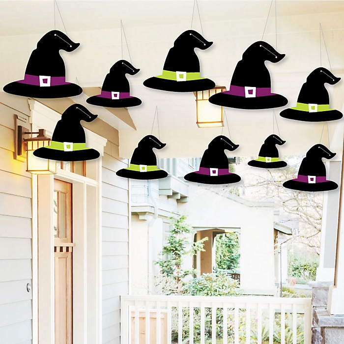 Hanging Happy Halloween - Outdoor Witch Party Hanging Porch and Tree Yard Decorations - 10 Pieces