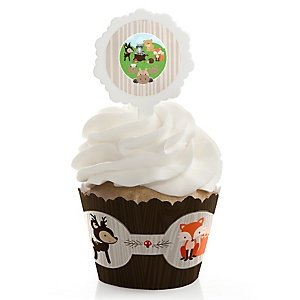 Woodland Creatures - Cupcake Wrapper & Pick Party Kit - Set of 24