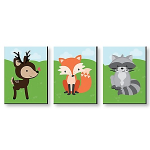 Woodland Creatures - Gender Neutral Forest Animal Nursery Wall Art & Kids Room Decor - 7.5 x 10 inches - Set of 3 Prints