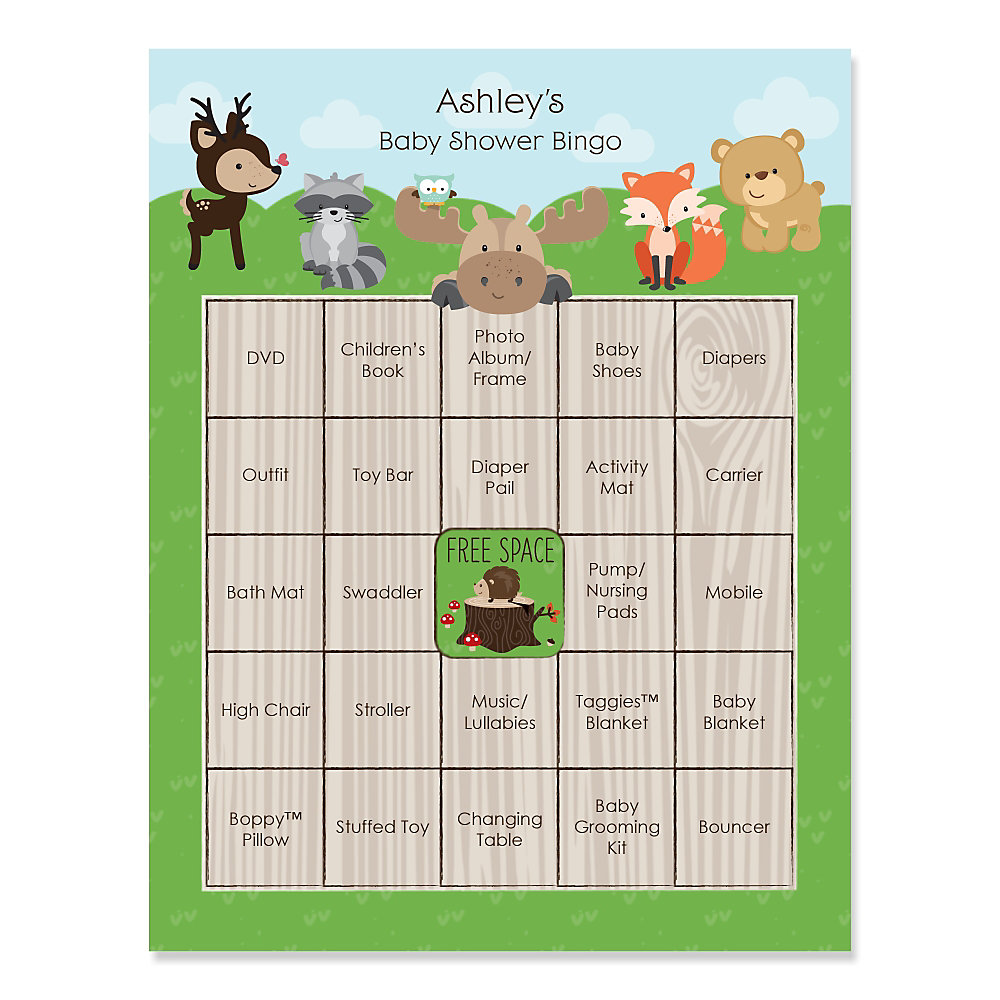 Woodland creatures baby shower theme bigdotofhappiness woodland creatures personalized baby shower game bingo cards 16 ct solutioingenieria Choice Image