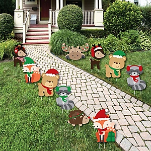 Woodland Christmas - Lawn Decorations - Outdoor Merry Christmoose Holiday Party Yard Decorations - 10 Piece