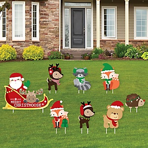 Woodland Christmas Sleigh - Yard Sign and Outdoor Lawn Decorations - Merry Christmoose Holiday Party Yard Signs - Set of 8