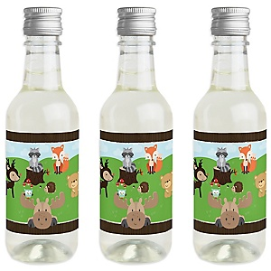 Woodland Creatures - Mini Wine and Champagne Bottle Label Stickers - Baby Shower or Birthday Party Favor Gift - For Women and Men - Set of 16