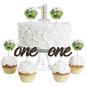 1st Birthday Woodland Creatures - Dessert Cupcake Toppers - First Birthday Party Clear Treat Picks - Set of 24
