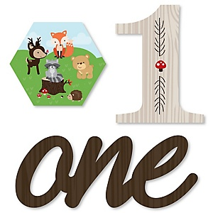 1st Birthday Woodland Creatures - DIY Shaped First Birthday Party Cut-Outs - 24 ct