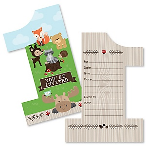 1st Birthday Woodland Creatures - Shaped Fill-In Invitations - First Birthday Party Invitation Cards with Envelopes - Set of 12