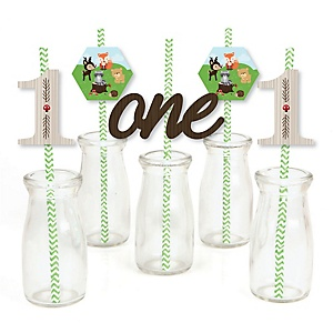1st Birthday Woodland Creatures - Paper Straw Decor - First Birthday Party Striped Decorative Straws - Set of 24