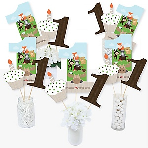 1st Birthday Woodland Creatures - First Birthday Party Centerpiece Sticks - Table Toppers - Set of 15